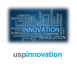 """Bilde av en ordsky som viser ordet """"innovasjon"""" i midten. For å ekseplifisere at alle våre prosesser for merkevarebygging er innovasjonsprosesser."""